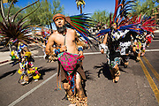 05 OCTOBER 2013 - PHOENIX, ARIZONA: Aztec dancers lead an immigration reform march in Phoenix. More than 1,000 people marched through downtown Phoenix Saturday to demonstrate for the DREAM Act and immigration reform. It was a part of the National Day of Dignity and Respect organized by the Action Network.   PHOTO BY JACK KURTZ