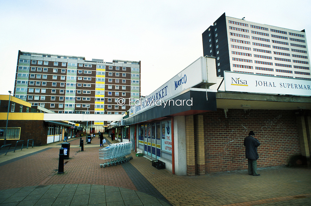 High-rise flats and shopping centre, Wolverhampton, West Midlands, England, UK, Europe.