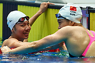Ashgabat, Turkmenistan - 2017 September 24: Thi Anh Vien Nguyen from Vietnam and (R) Meichen Sun from People's Republic of China thank each other after Women's 200m Freestyle Final while Short Course Swimming competition during 2017 Ashgabat 5th Asian Indoor & Martial Arts Games at Aquatics Centre (AQC) at Ashgabat Olympic Complex on September 24, 2017 in Ashgabat, Turkmenistan.<br /> <br /> Photo by © Adam Nurkiewicz / Laurel Photo Services