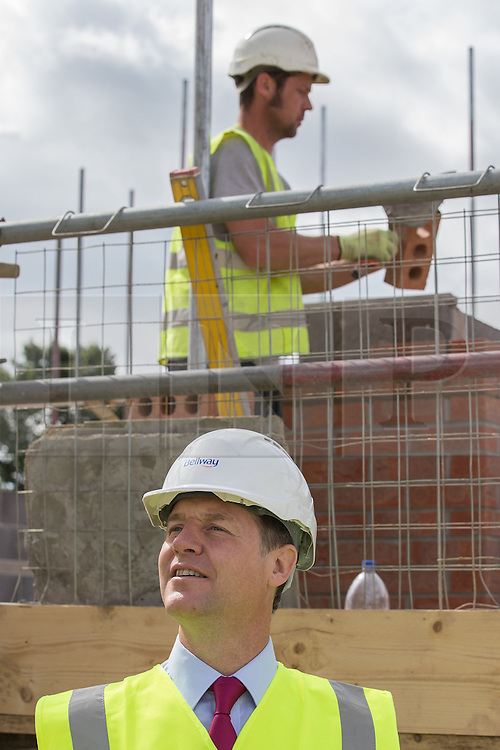 © Licensed to London News Pictures . 04/07/2014 . Leeds , UK . The Deputy Prime Minister , NICK CLEGG MP , at a Bellway housing development at Crossgates in Leeds today (Friday 4th July 2014) . The Liberal Democrat leader and MP for Sheffield Hallam , promoting local growth  . Photo credit : Joel Goodman/LNP