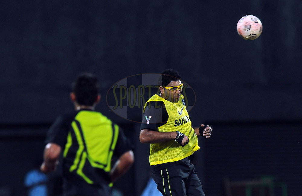 Yuvraj Singh of India plays a game of football during a practice session before the start of  the second International T20 match between India and New Zealand held at the M. A. Chidambaram Stadium in Chennai on the 11th September 2012..Photo by Pal Pillai/BCCI/SPORTZPICS