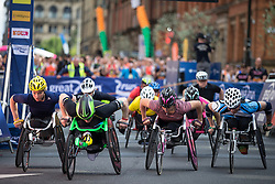 © Licensed to London News Pictures . 22/05/2016 . Manchester , UK . Start of elite wheelchair race . The Great Manchester Run in Manchester City Centre . Photo credit : Joel Goodman/LNP