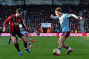 Jack Grealish (10) of Aston Villa looks for a way past Adam Smith (15) of AFC Bournemouth during the Premier League match between Bournemouth and Aston Villa at the Vitality Stadium, Bournemouth, England on 1 February 2020.