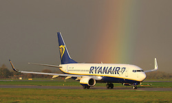 Pictured: Ryanair Boeing 737 at Glasgow International Airport on the 25th October 2017.<br /> <br /> <br /> &copy; Stephen Smyth/ EEm