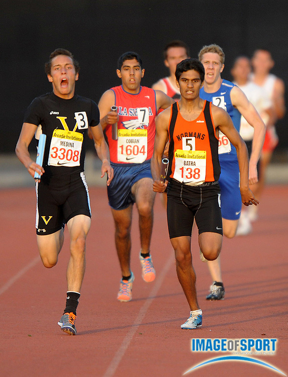 Apr 6, 2012; Arcadia, CA, USA; Kyle Medina of Ventura defeats Chanan Batra of Beverly Hills on the 800m anchor of the boys 1,600m sprint medley relay, 3:29.59 to 3:30.74, in the Arcadia Invitational at Arcadia High.