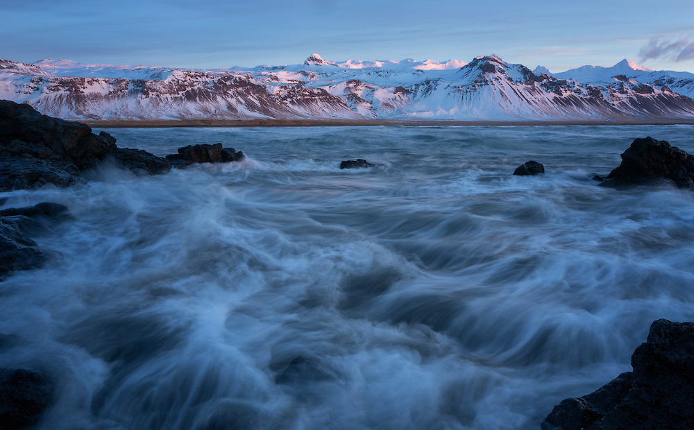 Crashing waves along the shore of Budir Snaefellsnes Peninsula North West Area Iceland