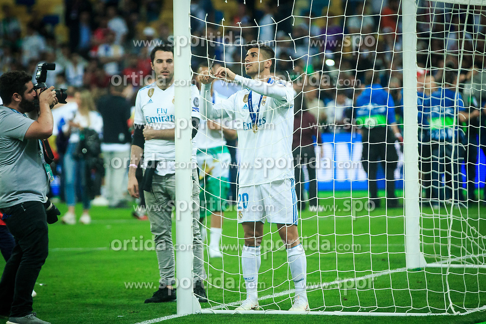 Marco Arsenio of Real Madrid celebrates after they won 3-1 during the UEFA Champions League final football match between Liverpool and Real Madrid and became Champions League  2018 Champions third time in a row at the Olympic Stadium in Kiev, Ukraine on May 26, 2018.Photo by Sandi Fiser / Sportida
