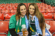 Irish fans during the Rugby World Cup Quarter Final match between Ireland and Argentina at Millennium Stadium, Cardiff, Wales on 18 October 2015. Photo by Shane Healey.