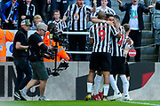 Ayoze Perez (#17) of Newcastle United celebrates Newcastle United's first goal (1-0) with Newcastle United team mates during the Premier League match between Newcastle United and Southampton at St. James's Park, Newcastle, England on 20 April 2019.