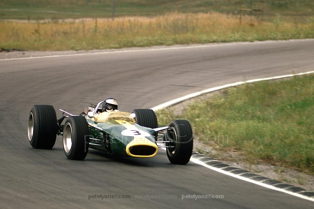 Jim Clark in Lotus 49-Ford Cosworth DFV iat 1967 Canadian GP at Mosport