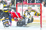 Cole Cassels #19 of the Oshawa Generals collides with Lucas Peressini #40 of the Kingston Frontenacs on February 1, 2015 at the General Motors Centre in Oshawa. The Frontenacs defeated the Generals 3-2 in a shootout. (Ian Goodall/Goodall Media Inc.)