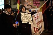 Frankfurt am Main | 02 Feb 2015<br /> <br /> Am Montag (02.02.2015) demonstrierten in Frankfurt an der Hauptwache etwa 60 PEGIDA-Anh&auml;nger mit teils extrem rassistischen Reden und Parolen z.B: gegen &quot;Islamisierung&quot;, an den Aktionen gegen die Rechtsextremisten nahmen mehrere tausend Menschen teil.<br /> Hier: PEGIDA-Demonstrant mit einem kleinen Plakat mit der Aufschrift 'Gesunde Familienpolitik statt Massenzuwanderung'.<br /> <br /> &copy;peter-juelich.com<br /> <br /> [No Model Release | No Property Release]