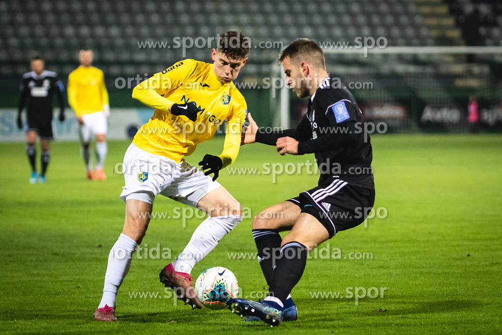 Žan Trontelj of Bravo and Marko Brkić of Mura during football match between NŠ Mura and NK Bravo in 20th Round of Prva liga Telekom Slovenije 2019/20, on December 5, 2019 in Fazanerija, Murska Sobota, Slovenia. Photo by Blaž Weindorfer / Sportida
