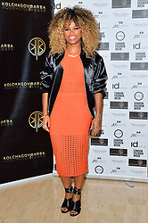 © Licensed to London News Pictures. 19/02/2016. FLEUR EAST attends the KOLCHAGOV BARBA Autumn/Winter 2016 show. Models, buyers, celebrities and the stylish descend upon London Fashion Week for the Autumn/Winters 2016 clothes collection shows. London, UK. Photo credit: Ray Tang/LNP