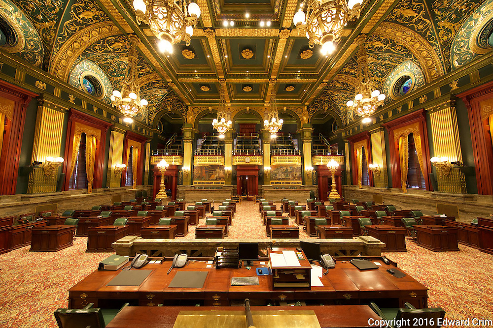 A view of the Pennsylvania Senate chamber from the speaker's desk in the capitol in Harrisburg