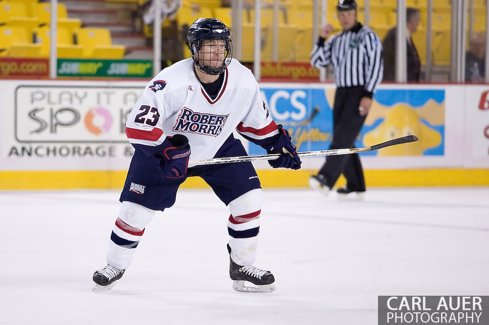 October 13, 2007 - Anchorage, Alaska:  David Boguslawski (23) of the Robert Morris Colonials in the 4-1 win over Wayne State in the 3rd game of the Nye Frontier Classic at the Sullivan Arena.  RMU would go on to be the Classic Champions after host Alaska-Anchorage tied with Boston University in the 4th game of the Classic.