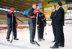 Darko Prusnik, Ildar Rahmatullin, Dejan Varl, President Slavko Kanalec and Sports director Zvone Suvak at HK Acroni Jesenice Team roaster for 2009-2010 season,  on September 03, 2009, in Arena Podmezaklja, Jesenice, Slovenia.  (Photo by Vid Ponikvar / Sportida)