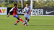 Team USA defender Armando Avila (3) takes the ball from Team Haiti midfielder Eugene Schneider (5) during a CONCACAF boys under-15 championship soccer game, Sunday, Aug. 4, 2019, in Bradenton, Fla. The USA defeated Haiti 2-0 (Kim Hukari/Image of Sport)