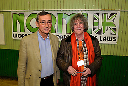 © Licensed to London News Pictures. 18/05/2013. Bristol, UK. Pictureo of l-r: Tom Lloyd former Chief Constable of Cambridgshire, and Howard Marks former drug smuggler and author, at the NORML UK 2013 conference calling for reform of Britain's cannabis laws which is holding its first AGM in Bristol.  NORML's first conference in Europe was opened by former drug smuggler and author Howard Marks, aka Mr Nice.  Other speakers included Tom Lloyd former Chief Constable of Cambridgshire, Annie Machon ex MI5 intelligence officer, and Rowan Bosworth-Davies, a former Detective Inspector from the Fraud Squad of the Met.  18 May 2013..Photo credit : Simon Chapman/LNP