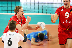 Sam Deroo of Belgium and Pieter Verhees of Belgium celebrate during volleyball match between National teams of Slovenia and Belgium in 2nd Round of 2018 FIVB Volleyball Men's World Championship qualification, on May 28, 2017 in Arena Stozice, Ljubljana, Slovenia. Photo by Morgan Kristan / Sportida