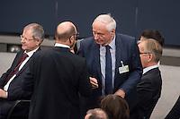 12 FEB 2017, BERLIN/GERMANY:<br /> Martin Schulz (L), SPD, Kanzlerkandidat, und Oskar Lafonatine (R), Die Linke, Fraktionsvorsitzender im saarlaendischen Landtag, im Gespraech, 16. Bundesversammlung zur Wahl des Bundespraesidenten, Reichstagsgebaeude, Deutscher Bundestag<br /> IMAGE: 20170212-02-072<br /> KEYWORDS; Bundespraesidentenwahl, Bundespr&auml;sidetenwahl, Gesp&auml;ch