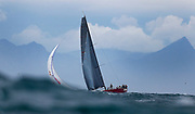 Yacht 'Nitro' races during the False Bay Yacht Club Spring Regatta series off Simonstown in Cape Town, South Africa 15 September 2017. The False Bay Yacht Club Spring Regatta sees South Africa's premier racing yachts from various clubs in the Cape competing over three days in the annual regatta at the change of seasons with good conditions for racing in False Bay.