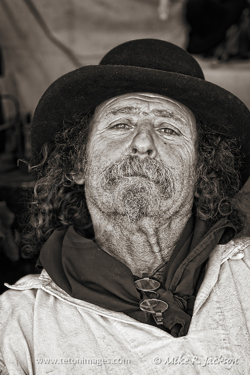 A hat maker taking another break at one of Wyoming's yearly Mountain Man Rendezvous.