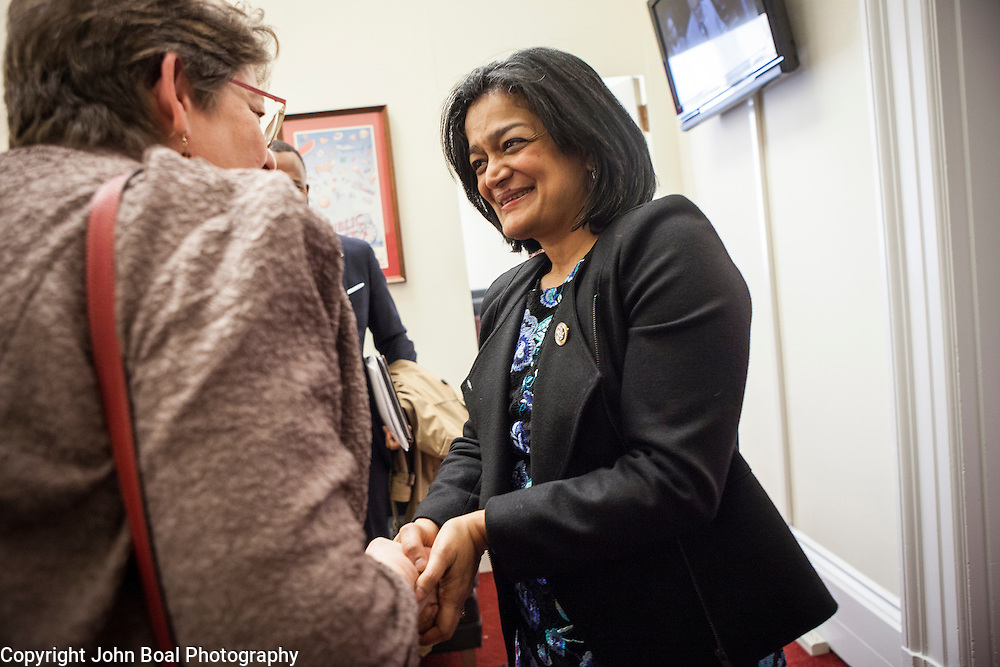 Representative Pramila Jayapal (D-WA, 7) greets representatives of the National Association of Independent Colleges and Universities, on Tuesday, January 31, 2017.  This was the last of 4 30-minute meetings with constituent advocacy groups during the day.  John Boal photo/for The Stranger