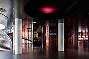 Ground floor lobby and entrance to Latitude 20 panoramic wine cellar..The City of Wine, Bordeaux, France. Architect: CitÈ du vin in Bordeaux ñ Atelier16-architectures