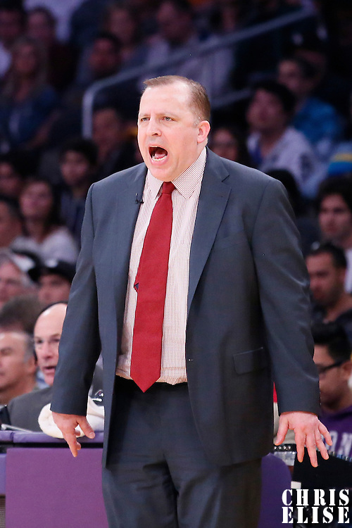 09 February 2014: Chicago Bulls head coach Tom Thibodeau is seen during the Chicago Bulls 92-86 victory over the Los Angeles Lakers at the Staples Center, Los Angeles, California, USA.
