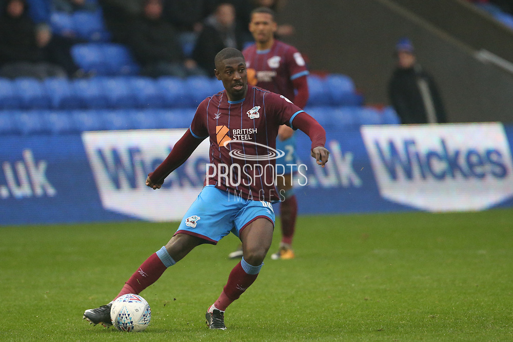 Hakeeb Adelakun Scunthorpe Midfielder during the EFL Sky Bet League 1 match between Oldham Athletic and Scunthorpe United at Boundary Park, Oldham, England on 28 October 2017. Photo by George Franks.