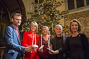 Celebrities and ambassadors Hugh Dennis, Ruth Langsford,Wendy Mitchell, Sir Tony Robinson and Lesley Manville OBE. Carols by candlelight. An evening of celebration and song for the Alzheimers's Society. St Pauls Church, Knightbridge, London.