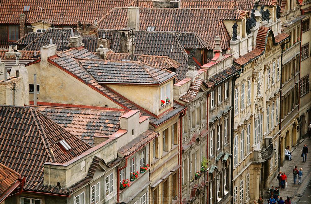 Tile rooftops in Prague, Czech Republic.