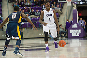 FORT WORTH, TX - JANUARY 4: Chauncey Collins #1 of the TCU Horned Frogs brings the ball up court against the West Virginia Mountaineers on January 4, 2016 at Ed and Ray Schollmaier Arena in Fort Worth, Texas.  (Photo by Cooper Neill/Getty Images) *** Local Caption *** Chauncey Collins