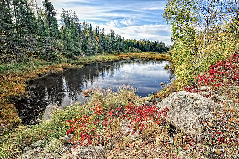 Lake with autumn foliage in BWCA,  Ely, Minnesota.