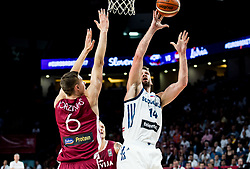 Kristaps Porzingis of Latvia vs Gasper Vidmar of Slovenia during basketball match between National Teams of Slovenia and Latvia at Day 13 in Round of 16 of the FIBA EuroBasket 2017 at Sinan Erdem Dome in Istanbul, Turkey on September 12, 2017. Photo by Vid Ponikvar / Sportida