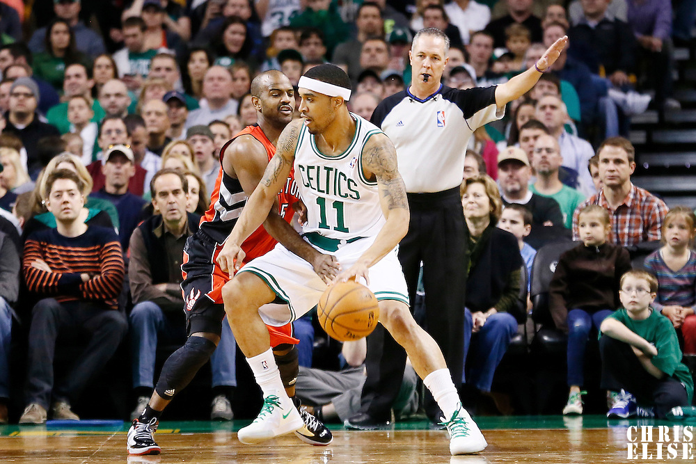 17 November 2012: Toronto Raptors point guard John Lucas (5) defends on Boston Celtics shooting guard Courtney Lee (11) during the Boston Celtics 107-89 victory over the Toronto Raptors at the TD Garden, Boston, Massachusetts, USA.