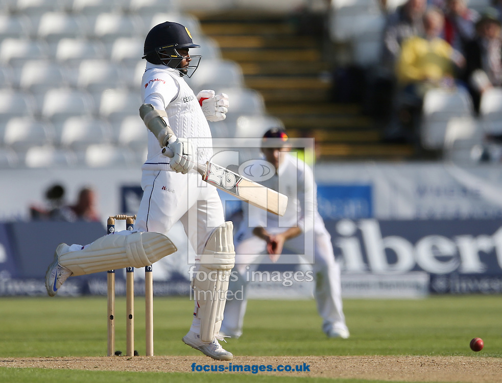 Rangana Herath of Sri Lanka batting during the Investec Test Match match at Emirates Riverside, Chester-le-Street<br /> Picture by Simon Moore/Focus Images Ltd 07807 671782<br /> 28/05/2016