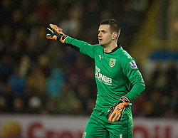 BURNLEY, ENGLAND - Boxing Day, Friday, December 26, 2014: Burnley's goalkeeper Tom Heaton in action against Liverpool during the Premier League match at Turf Moor. (Pic by David Rawcliffe/Propaganda)