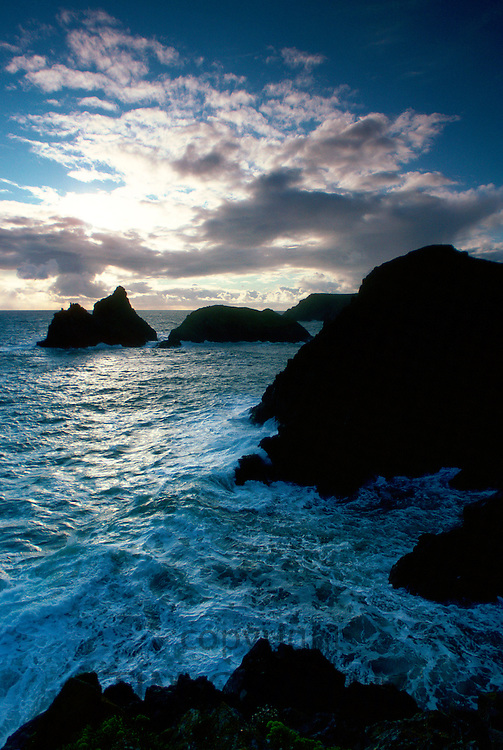 Kynance Cove at sunset, Cornwall, England