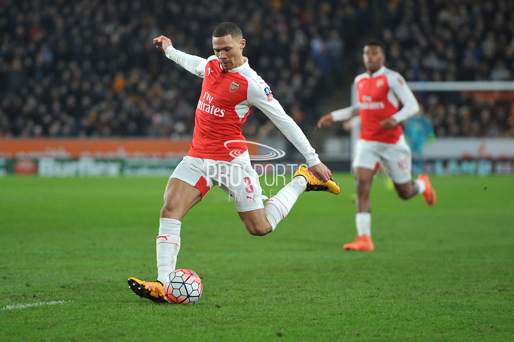 Kieran Gibbs of Arsenal FC (3) kicks forward during the The FA Cup fifth round match between Hull City and Arsenal at the KC Stadium, Kingston upon Hull, England on 8 March 2016. Photo by Ian Lyall.