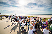More than 8,000 people participate in the 15th Annual Lustgarten Foundation Long Island Pancreatic Cancer Research Walk at Jones Beach, raising over $1 million to fight the deadly disease.
