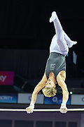 Jay Thompson of Great Britain on the horizontal bar  during the The Superstars of Gymnastics event at the O2 Arena, London, United Kingdom on 23 March 2019.