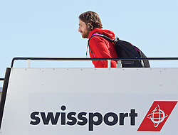 LIVERPOOL, ENGLAND - Monday, May 16, 2016: Liverpool's Joe Allen and the squad board their plane to Basel as they fly out of Liverpool John Lennon Airport to Switzerland ahead of the UEFA Europa League Final against Sevilla FC. (Pic by David Rawcliffe/Propaganda)