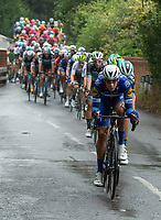 QUICK-STEP FLOORS leads the peloton through the Surrey Hills in The Prudential RideLondon Classic. Sunday 29th July 2018<br /> <br /> Photo: Jon Buckle for Prudential RideLondon<br /> <br /> Prudential RideLondon is the world's greatest festival of cycling, involving 100,000+ cyclists - from Olympic champions to a free family fun ride - riding in events over closed roads in London and Surrey over the weekend of 28th and 29th July 2018<br /> <br /> See www.PrudentialRideLondon.co.uk for more.<br /> <br /> For further information: media@londonmarathonevents.co.uk