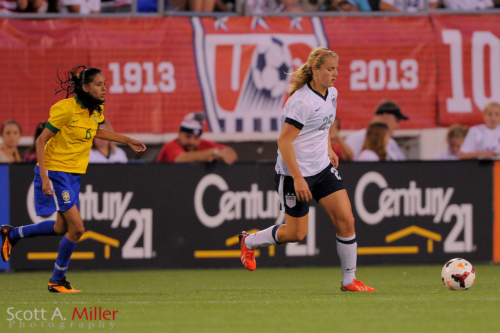 U.S. forward Lindsey Horan (25) in action during the United States' 4-1 win over Brazil in an international friendly at the Florida Citrus Bowl on Nov. 10, 2013 in Orlando, Florida. <br /> <br /> &copy;2013 Scott A. Miller