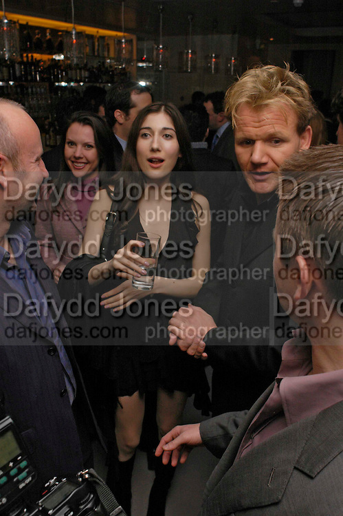 Linda Solberg and Gordon Ramsay. Pengelley's opening. 164 Sloane St. London SW1. 22 February 2005. . ONE TIME USE ONLY - DO NOT ARCHIVE  © Copyright Photograph by Dafydd Jones 66 Stockwell Park Rd. London SW9 0DA Tel 020 7733 0108 www.dafjones.com