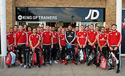 CARDIFF, WALES - Thursday, June 2, 2016: Wales players a visit to a JD Sports store in Llantrisant. Ashley 'Jazz' Richardsm goalkeeper Chris Maxwell, Chris Gunter, goalkeeper Owain Fon Williams, Ethan Ampadu, Joe Allen, Ben Davies, James Chester goalkeeper Wayne Hennessey, Gareth Bale, Aaron Ramsey, captain Ashley Williams, David Cotterill, Jonathan Williams, Tyler Roberts, manager Chris Coleman, Simon Church, Andy King, Paul Dummett, Sam Vokes, David Edwards, Neil Taylor, James Collins and Wes Burns. (Pic by Ian Cook/Propaganda)