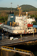 Superstructure of a cargo ship at Miraflores Locks. Panama Canal, Panama city, Panama, Central America.