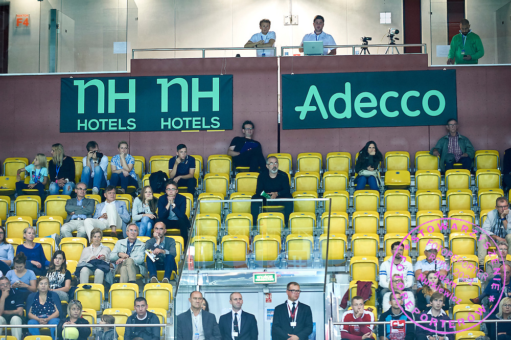 NH Hotels advertise and Adecco advertise on main tribune during Davis Cup Tie World Group Play-off Poland v Slovakia at Gdynia Arena Hall in Gdynia, Poland.<br /> <br /> Poland, Gdynia, September 18, 2015<br /> <br /> Picture also available in RAW (NEF) or TIFF format on special request.<br /> <br /> For editorial use only. Any commercial or promotional use requires permission.<br /> <br /> Adam Nurkiewicz declares that he has no rights to the image of people at the photographs of his authorship.<br /> <br /> Mandatory credit:<br /> Photo by &copy; Adam Nurkiewicz / Mediasport